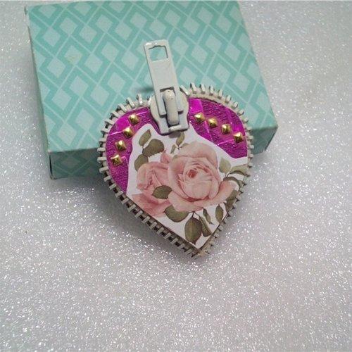 Magnet cœur décor rose