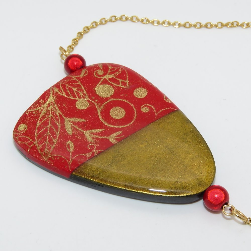 "Collier ""En Rouge & Or"""