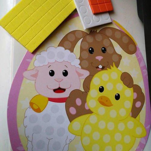 Tableau, mosaïque mouton blanc, lapin marron et poussin jaune  pré imprimé à compléter avec des gommettes en mousse