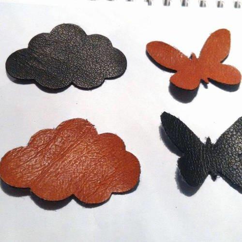 Lot de 4 appliques à coudre en cuir véritable de couleur noir et marron en forme de nuage et de papillon pour customisation et réparation