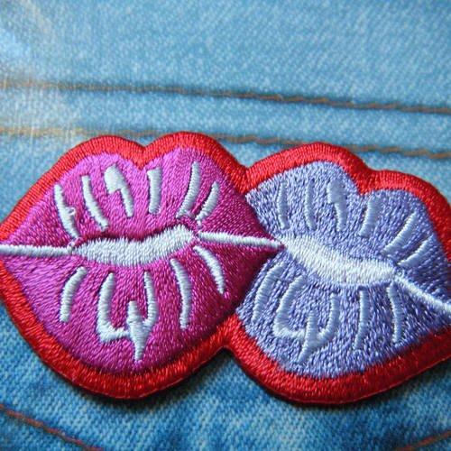 Applique thermocollante en forme de bouches, lèvres, bisous rouge, fuchsia et mauve