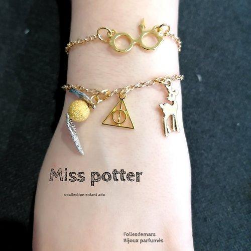Miss potter, bracelet métal doré inoxydable, harrypotter, relique de la mort, vif d'or, patronus, chaîne fine, enfant, ado