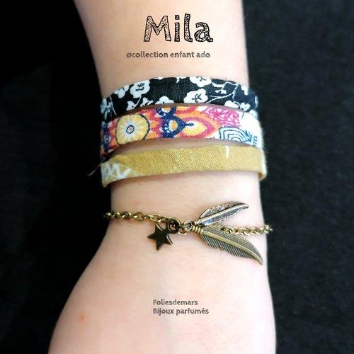 Mila, bracelets, coton bio, chaîne, bronze, pampille, bijoux, enfants, ado, parfum