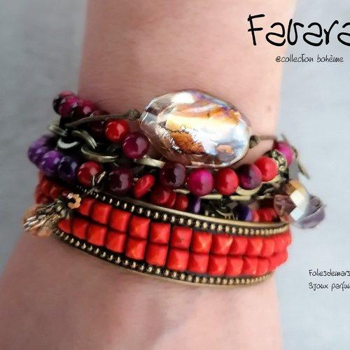 Favara, bracelet multirangs, bohème, chic, boho, hippi, perle, pierre fine, murano, parfum, bronze, corail, jonc