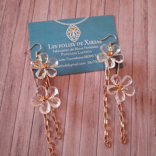 Boucles d'oreilles pâquerettes cristal et métal