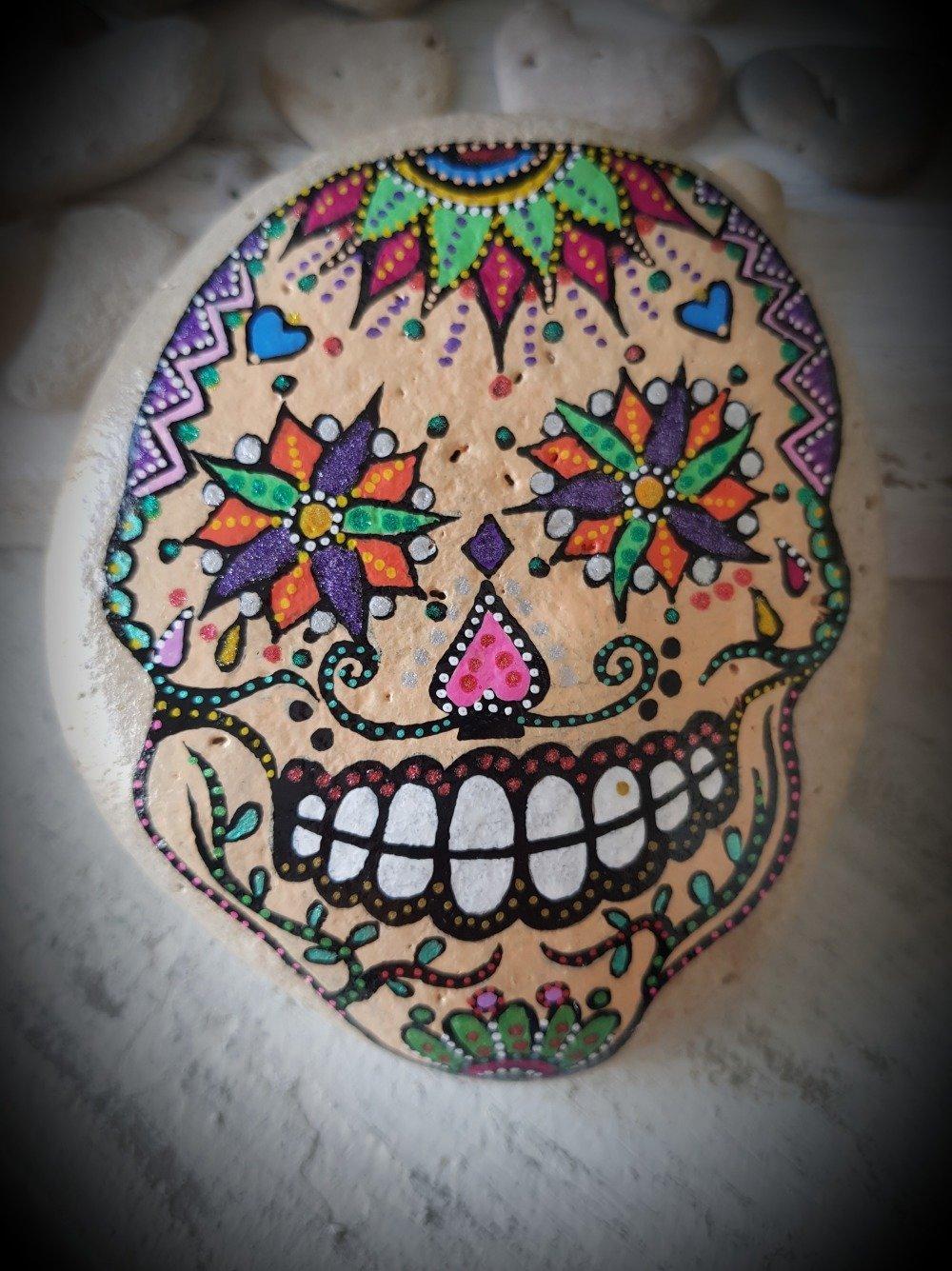 Les galets têtes de morts mexicaines de wonder