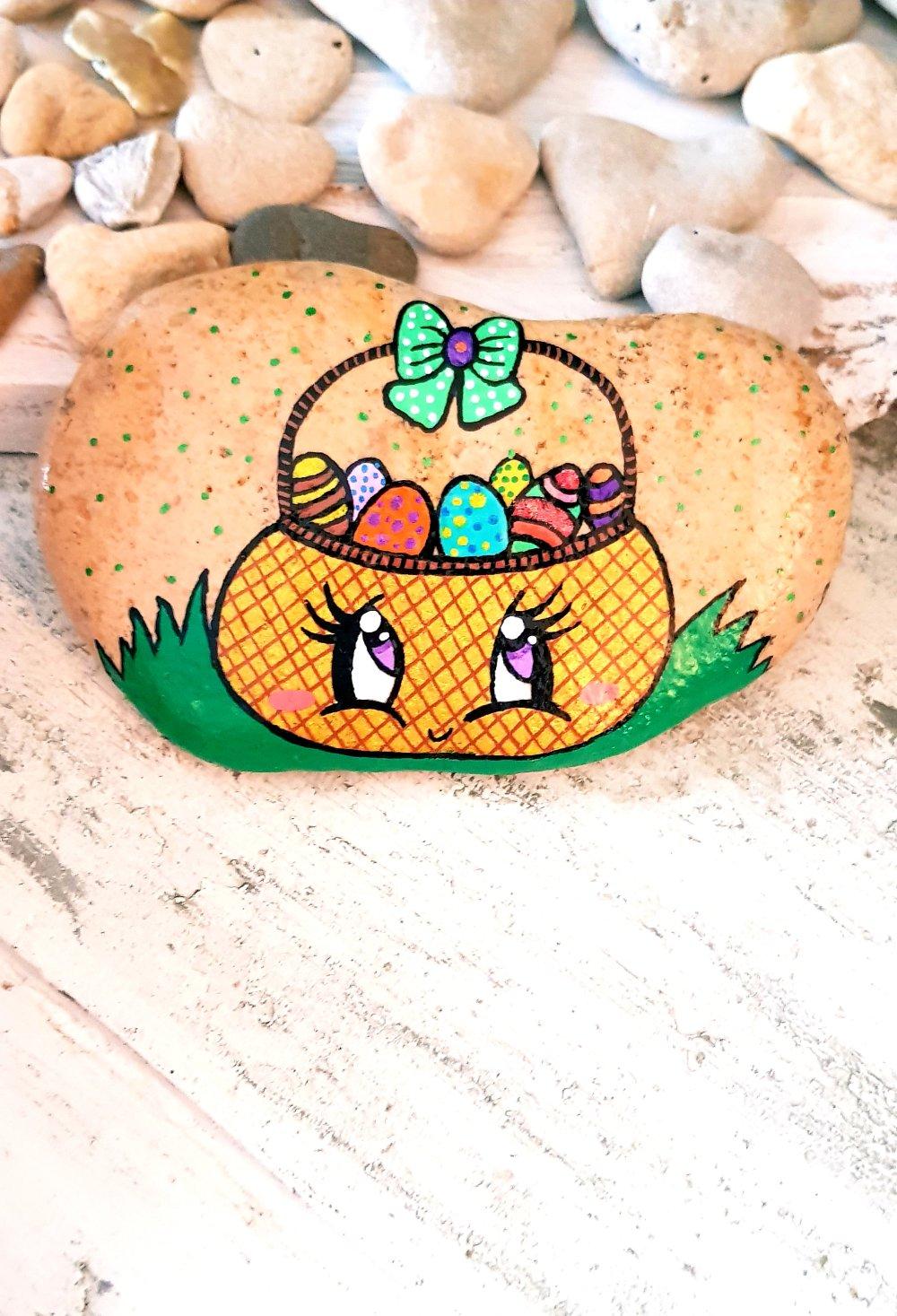 Les galets pâques (poules,oeufs,cloches,lapins)