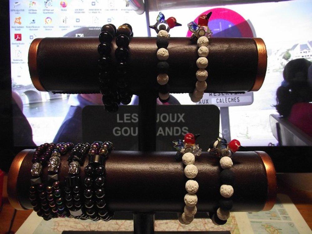 Bracelet Hématite -double-aimanté petite perle violet-perle bouddha