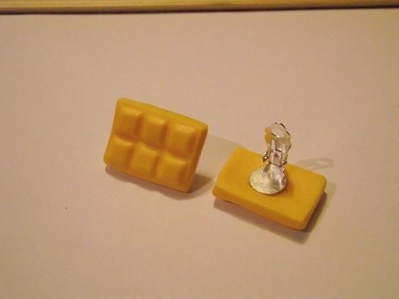 Boucle d oreille a clip tablette chocolat CITRON