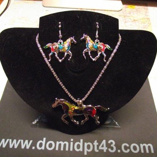 Parure -collier chaîne--boucle d oreille-cheval multicolore
