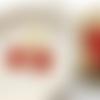 1 breloque fleur rouge doré émaillé 21mm