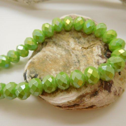 10 perles de verre vert irisé imitation cristal rondelles à facettes 8mm x 6mm