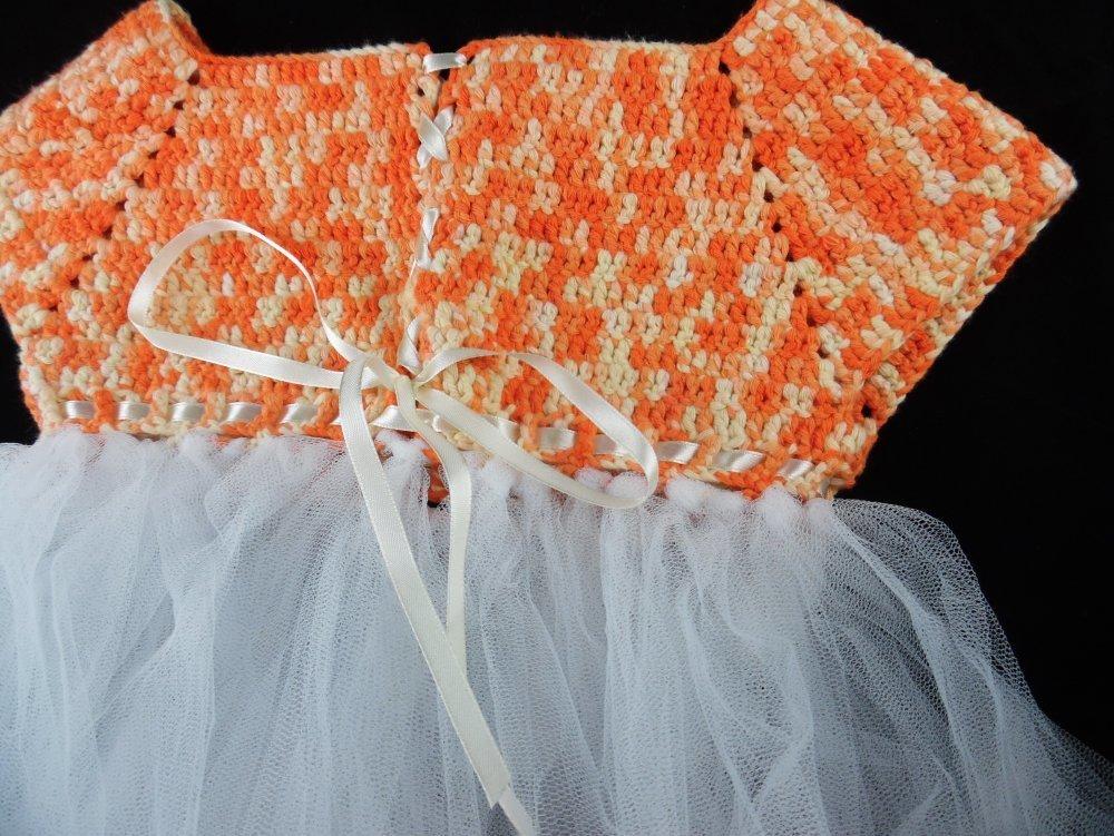 robe tutu orange et blanche