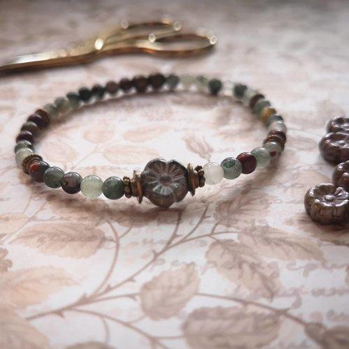 Bracelet en pierres naturelles agates vertes