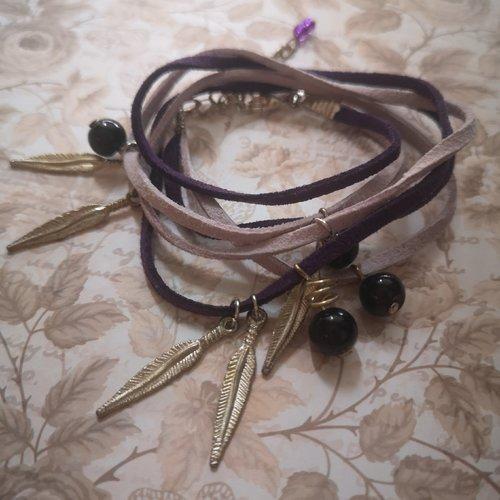 Bracelet ethnique triple tours en suedine