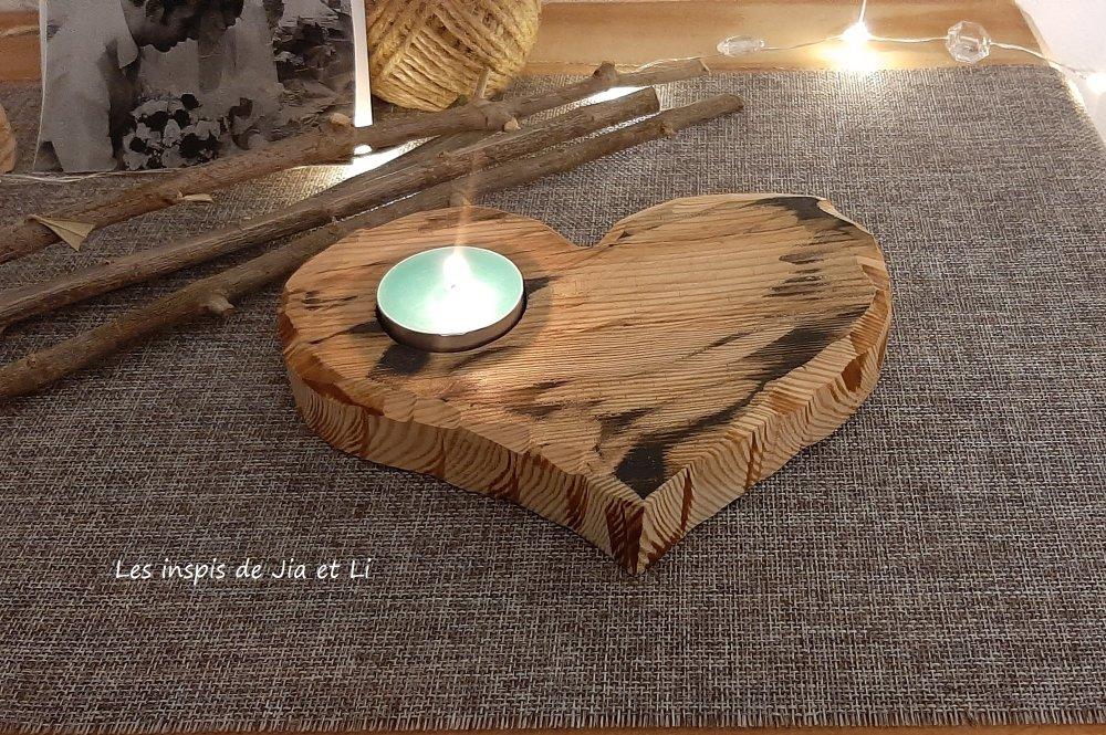 Bougeoir en bois cœur, décoration en bois recyclé, zéro déchet.