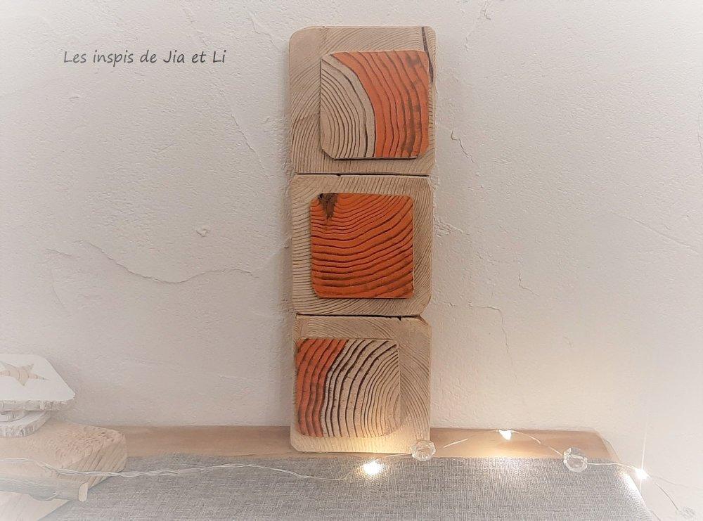 Tableau mural scandinave en bois orange, déco éco,responsable, bois  recyclé, zéro déchet