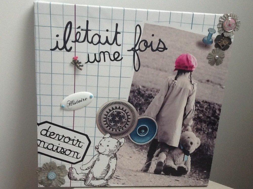 Tableau Toile Theme Enfance Fille Retro Vintage Un Grand Marche