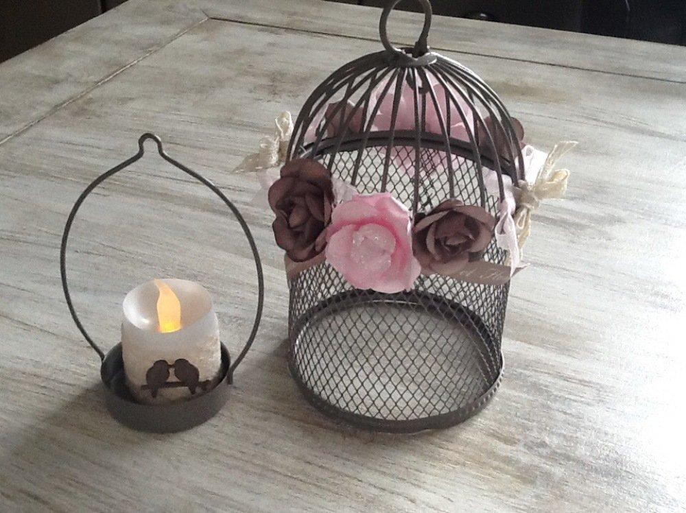 Cage à oiseaux décorative, photophore bougie led style shabby chic rose, taupe et écru