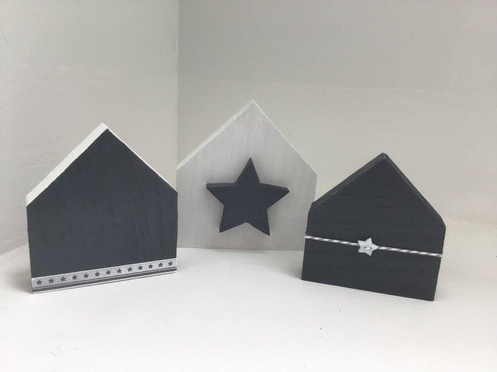 Maisons en bois étoile gris et blanc