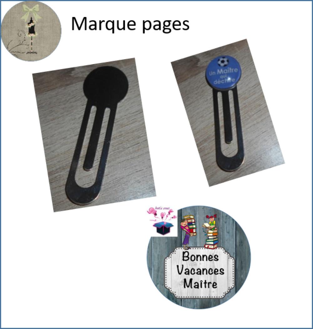 marque page argenté avec cabochon en verre 25 mm