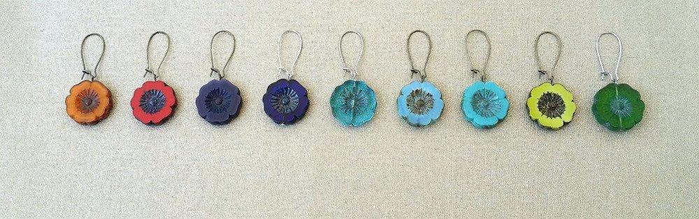 Boucles d'oreilles fleurs hawaïennes bleues turquoise