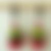 Boucles d'oreilles perles à facettes de bohème rouge et vert