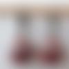Boucles d'oreilles perles à facettes de bohème bordeaux rose cuivre