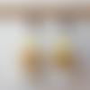Boucles d'oreilles perle de bohème blanche et jaune en verre tchèque