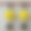 Boucles d'oreilles fleurs résine jaune goutte cristal swarovski kaki