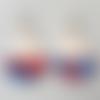 Boucles d'oreilles demi lune écaille de tortue rouge, rose, bleu et dorées