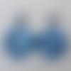 Boucles d'oreilles disque en acétate écaille de tortue multi bleus