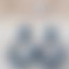 Boucles d'oreilles (gros cabochon modèle moyen) créoles perles en cristal bleu pétrol - esprit vintage