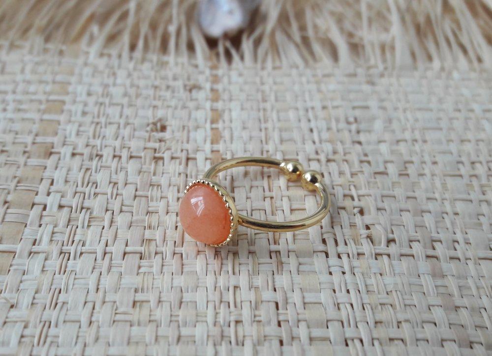 Bague ajustable doré à l'or fin cabochon pierre semi précieuse agate mandarine