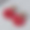 Boucles d'oreilles nina - pendentif en acétate rouge et clou fleur - esprit vintage
