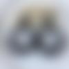 Boucles d'oreilles (modèle xl) créoles perles noires en résine - esprit vintage