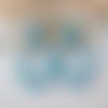 Boucles d'oreilles (gros cabochon grand modèle) créoles perles en cristal turquoise - esprit vintage