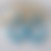 Boucles d'oreilles (modèle moyen) créoles perles en cristal swarovski bleu turquoise - esprit vintage