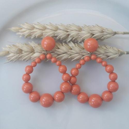 Boucles d'oreilles (modèle moyen) créoles perles en cristal swarovski orange - esprit vintage