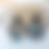 Boucles d'oreilles emilie - demi lune en acétate blanc bleu marron et clou d'oreille carré - esprit vintage