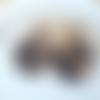 Boucles d'oreilles grand disque en acétate écaille de tortue beige noir
