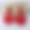 Boucles d'oreilles emilie - pendentif en acétate rouge et clou carré - esprit vintage