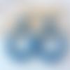 Boucles d'oreilles (modèle moyen) créoles perles en cristal swarovski bleu lapis - esprit vintage