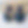 Boucles d'oreilles emilie - pendentif acétate marbré bleu doré et clou d'oreille carré - esprit vintage
