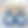 Boucles d'oreilles (grand modèle petit cabochon) créoles perles en cristal swarovski bleu - esprit vintage