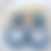 Boucles d'oreilles (grand modèle gros cabochon) créoles perles en cristal swarovski bleu - esprit vintage