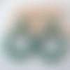 Boucles d'oreilles (petit modèle) créoles perles vertes en résine - esprit vintage