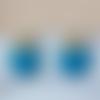 Boucles d'oreilles mini nina - sequin rond bleu et clou fleur - esprit vintage