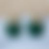Boucles d'oreilles mini nina - sequin rond vert foncé et clou fleur - esprit vintage