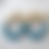 Boucles d'oreilles aurore - créoles perles dorées et turquoises en résine - esprit vintage